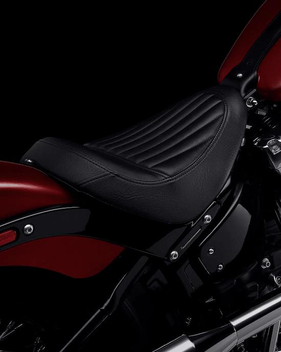 """ASIENTO BAJO TIPO """"TUCK & ROLL""""Un asiento individual bajo que combina un estilo puro y básico para hacerte sentir parte de la moto y de la carretera por la que te desplazas."""